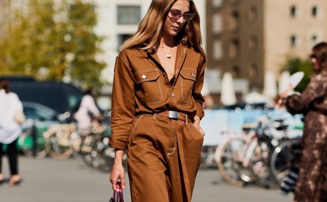 copenhagen spring street style utilitarian dressing light brown boilersuit jumpsuit landscape cropped
