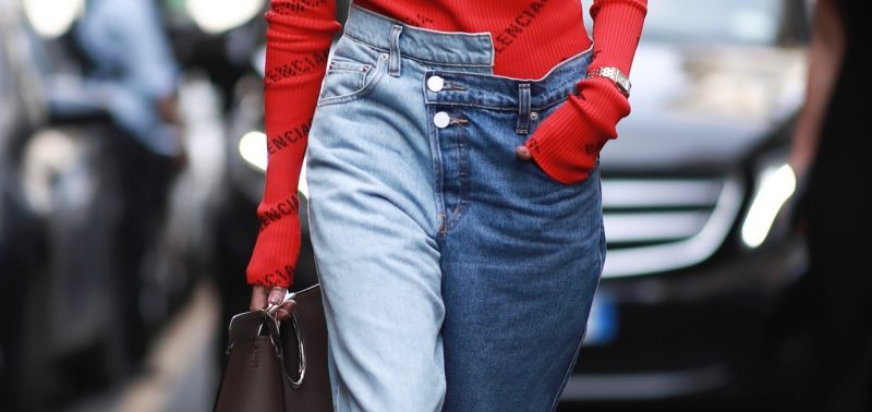 milan spring street style two color jeans with uneven waist buttons Marquee landscape cropped