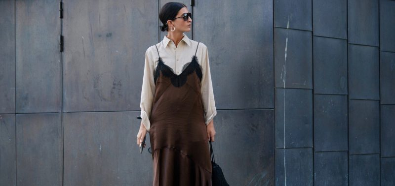 stockholm spring street style white blouse brown slip dress Marquee landscape cropped