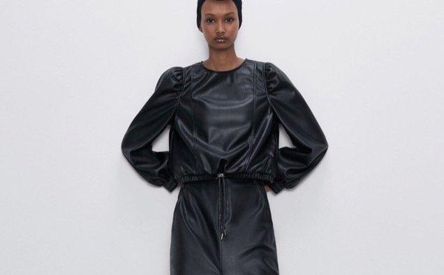 Zara Faux Leather Top landscape cropped