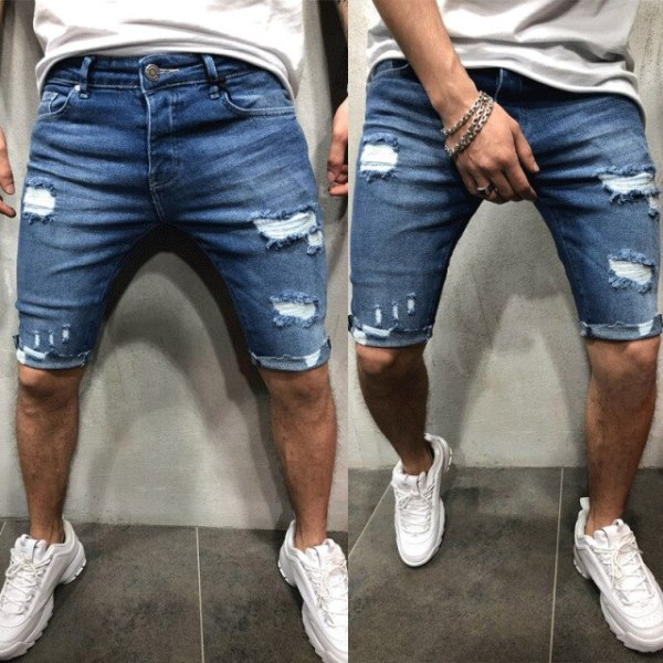 Brand-New-New-Men-shorts-Jeans-Short-Pants-Destroyed-Skinny-jeans-Ripped-Pant-Frayed-Denim