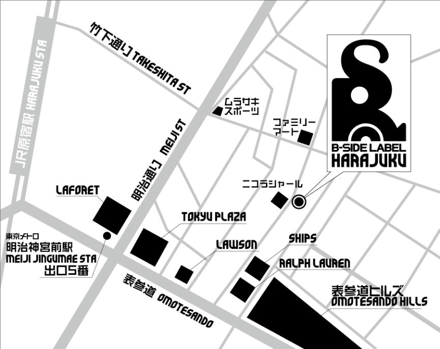 B-SIDE LABEL原宿店マップ