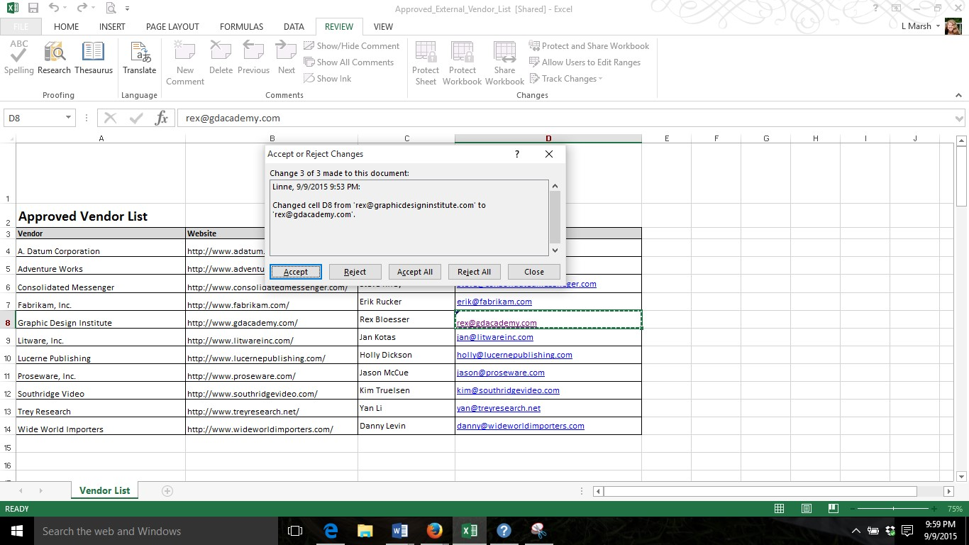 Whodunit Tracking Changes In Excel