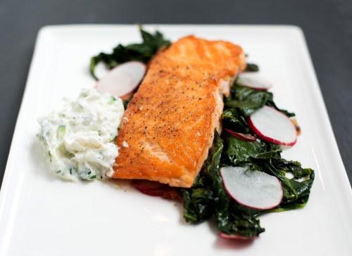 Pan Roasted Salmon & Collard Greens with Radish Raita | bsinthekitchen.com #dinner #salmon #bsinthekitchen