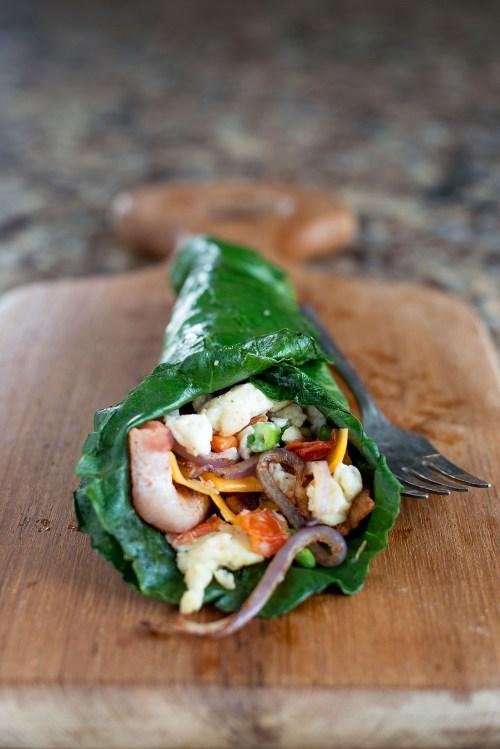 Collard Green Scrambled Egg Wrap   bsinthekitchen.com #breakfast #healthy #bsinthekitchen