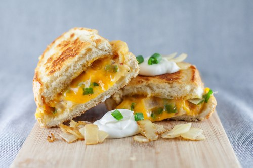Perogy Grilled Cheese | bsinthekitchen.com #grilledcheese #perogy #bsinthekitchen