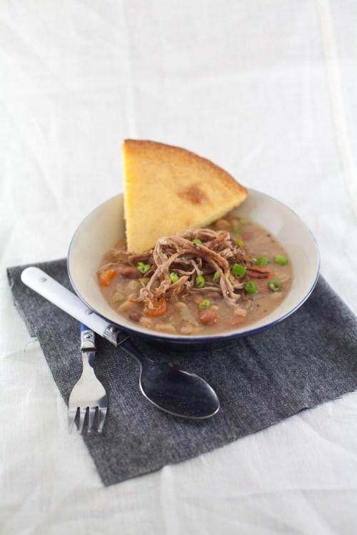 Slow Cooker Pork and Beans from www.bsinthekitchen.com | #pork #slowcooker #beans