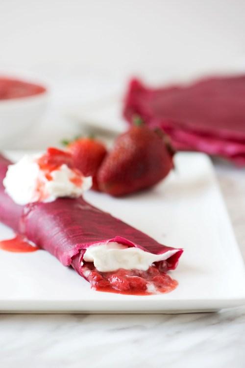 Red Velvet Crepes with Fresh Strawberry Syrup & Whipped Cream | bsinthekitchen.com #breakfast #redvelvet #bsinthekitchen