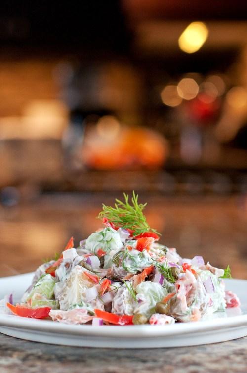Smoked Salmon Potato Salad | bsinthekitchen.com #sidedish #dinner #bsinthekitchen