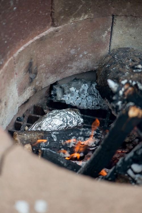 Bacon & Onion Campfire Hasselback Potato | bsinthekitchen.com #camping #dinner #bsinthekitchen