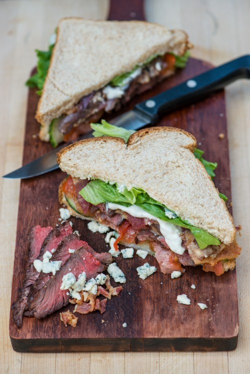Steak & Blue Cheese Sandwich | bsinthekitchen.com #lunch #sandwich #bsinthekitchen