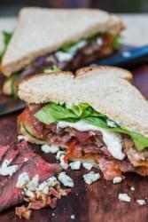 Steak Salad with Bacon Blue Cheese Dressing | bsinthekitchen.com #lunch #sandwich #bsinthekitchen
