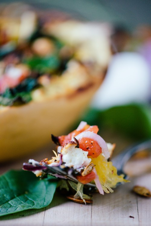 Spinach, Tomato & Goat Cheese Stuffed Spaghetti Squash | bsinthekitchen.com #squash #healthy #bsinthekitchen