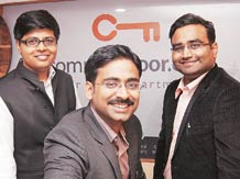 (Left to right)  Lalit Mangal, Sumit Jain, and Vikas Malpani, co-founders, maxHeap Technologies, which runs property portal CommonFloor.com