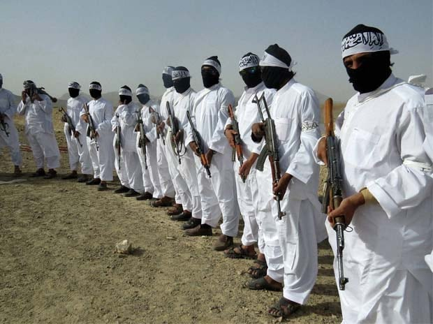 File photo of Taliban suicide bombers during a gathering of a breakaway Taliban faction, in the border area of Zabul province, southern of Kabul, Afghanistan. Photo: AP | PTI