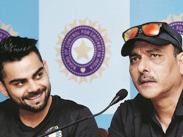 File photo of former captain Ravi Shastri with skipper Virat Kohli at a press conference in Kolkata in June, 2015.