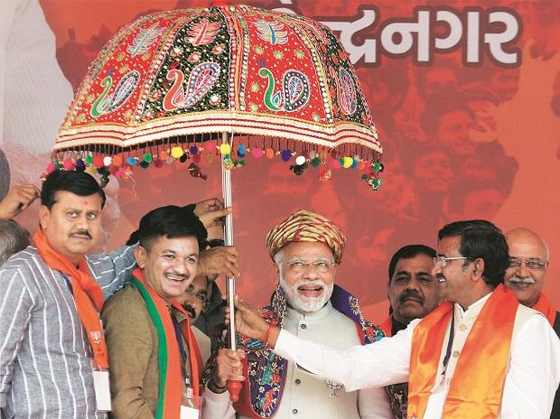 PM Narendra Modi during an election rally for the in Surendranagar, Gujarat on Sunday