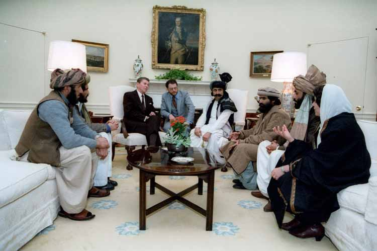 "Ronald Reagan meeting with the Taliban in 1985: '""These gentlemen (the Taliban) are the moral equivalents of America's founding fathers."""