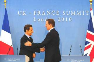 Nicholas Sarkozy and David Cameron signing the Lancaster House Treaty in 2010