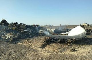 Debris at the site of the Russian plane crash in Sinai, Egypt.
