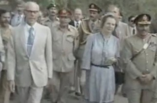 Margaret Thatcher and General Zia ul-Haq at the border of Afghanistan / Pakistan border 1982