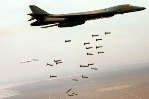 An American B-1B Lancer dropping cluster bombs over Baghdad
