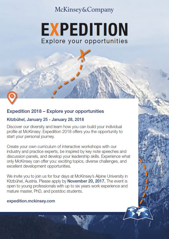 "BSNL Recommends: ""Expedition-McKinsey"". 25-28 of January 2018, McKinsey Alpine University, Kitzbühel."