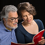 [Fleisher-Jacobson Piano Duo with Leon Fleisher and Katherine Jacobson (photo by Steven Riskind)]