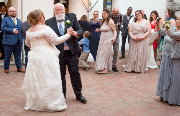 Father/Daughter dance. They are cute together and the bride really is his baby girl.