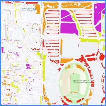 Zoomed in area northwest of Indiana University football stadium.