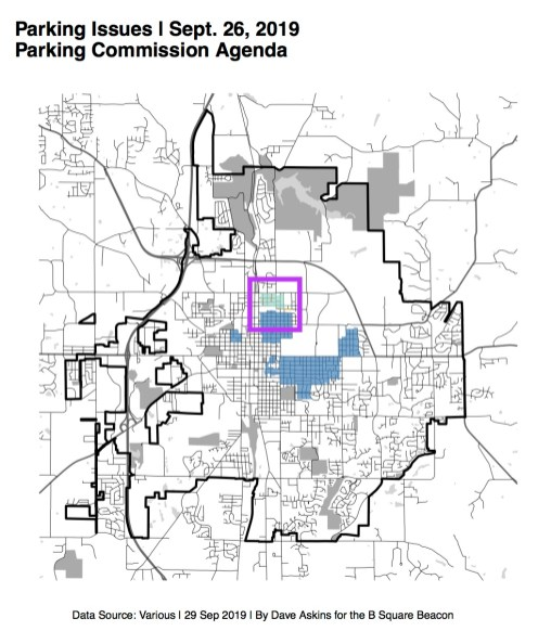 Purple square shows general location of residential neighborhood parking Zone 6.