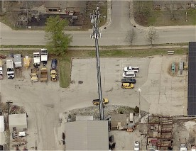 Ariel view of the tornado siren at the City of Bloomington's service area on Miller Drive, east of Henderson Street. (Monroe County GIS Pictometry tool)