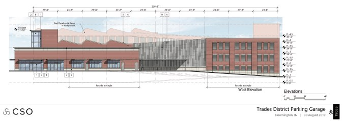 West elevation of proposed parking structure.