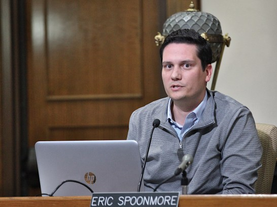 Monroe County councilor Eric Spoonmore calls on residents to give their input on Duke Energy's proposed rate increase. Oct. 8, 2019 (Dave Askins/Beacon)