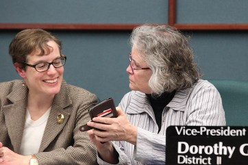 Isabel Piedmont-Smith (left) and Dorothy Granger, Bloomington city council meeting Dec. 18, 2019.