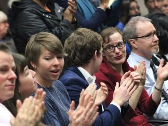 From left: councilmember Kate Rosenbarger, planning services manager Beth Rosenbarger, councilmember Matt Flaherty, and councilmember Isabel Piedmont-Smith.