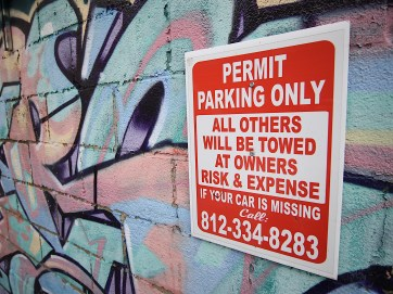 The proposed new ordinance would require signs similar to these, which are already in place.