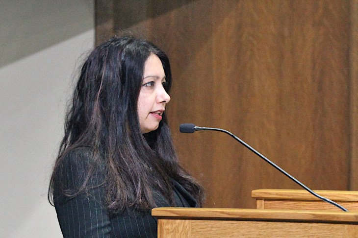 Shruti Rana, IJTF member and professor at Indiana University's Hamilton Lugar School of Global and International Studies, delivers public commentary to Monroe County's council.