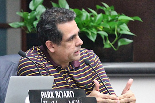 Bloomington park commissioner Israel Herrera asks questions of protesters at the Feb. 25, 2020 meeting of the commission.
