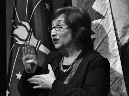 "ALS interpreter Kathleen Bennett had 49 chances to sign ""Bloomington"" during the mayor's speech."