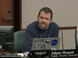 Screengrab of CATS broadcast of March 3, 2020 board of public works meeting showing Adam Wason, director of public works.