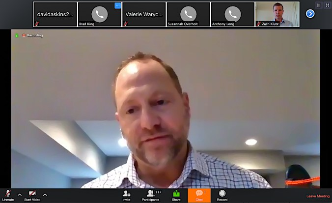 Paul Okeson, chair of Indiana's election commission, presides over the commission's March 25, 2020 meeting, which was held by videoconference. (Screen grab from Zoom.)