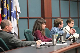 The climate action and resilience committee of the Bloomington city council on March 11, 2020. From left: Dave Rollo, Kate Rosenbarger, Matt Flaherty, and Isabel Piedmont-Smith.