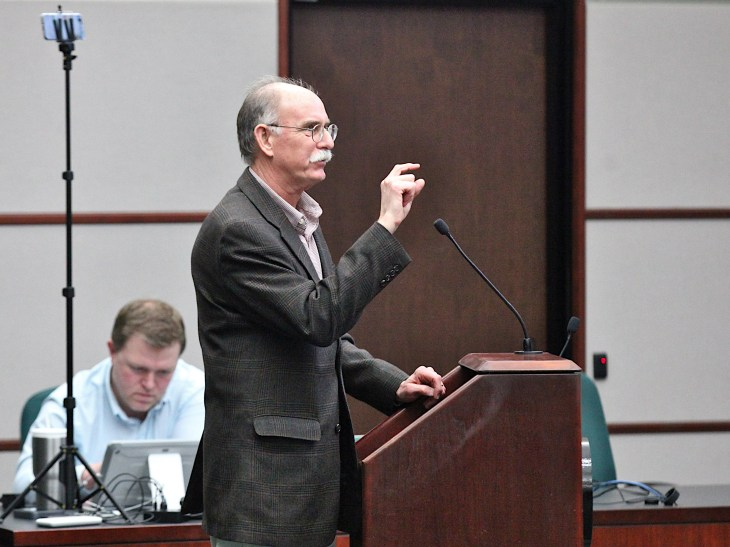 Bill Riggert, engineer with Bledsoe Riggert Cooper & James, addresses Bloomington's board of zoning appeals on March 19, 2020.