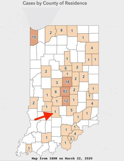 The COVID-19 case map from the Indiana State Department of Health's website on Sunday, March 22, 2020. The Monroe County case did not appear until Sunday after it was reported by a private lab to a local health provider, Indiana University's student health center. The lab has to report to the state before the tally is included in the state's dashboard.