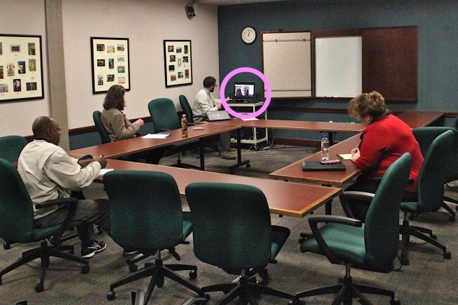 Bloomington's city council held a work session on Friday, March 13, 2020. Joining remotely via a Google Meet were four concilmembers and director of utilities Vic Kelson, who's on-screen in this shot. (Dave Askins/Square Beacon)
