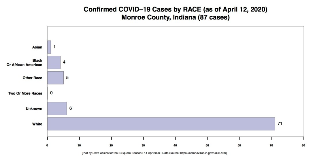 R Horizontal Bar Chart COVID RACE Demographic Monroe County CASES through April 12