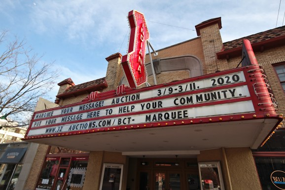The marquee of the Buskirk-Chumley Theater on Kirkwood Avenue in downtown Bloomington on April 3, 2020. (Dave Askins/Square Beacon)