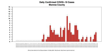 Barchart COVID-19 cases DAILY COUNTIES MONROE