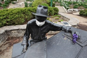 File photo from mid-April of the Hoagy Carmichael statue on the Indiana University campus.